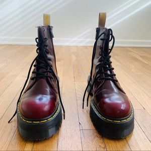 Dr.Martens Cherry Red Cambridge Brush platforms